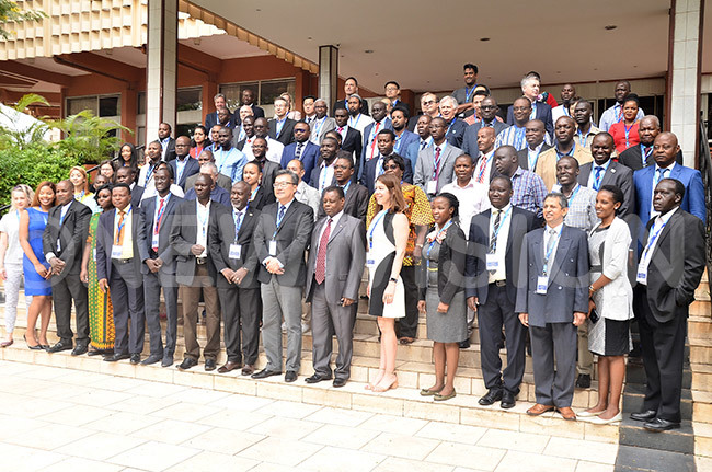 group photograph of delegates who turned up for nternational sanitation treatment ystem meeting at ampala erena otel on pril 2 2019 hoto by onnie ijjambu