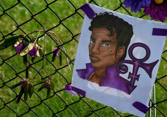 rince portrait and flowers left by fans outside the aisley ark compound inneapolis innesota on pril 23 2016 here was no evidence of trauma on rinces body when he was found unresponsive in an elevator at his huge compound or any indication the late music icon committed suicide  authorities said on pril 22 2016     ark alston
