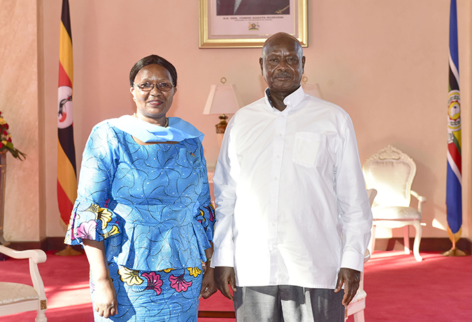 grina ussa with resident useveni after presenting her credentials  hoto