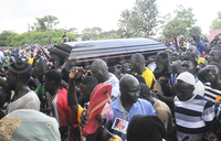 Abiriga's body arrives in Arua amid chaotic scenes