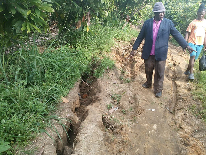 umadu parish  chairman onesani abutendye points out one of the various cracks that have emerged in the area hoto by ilson siimwe