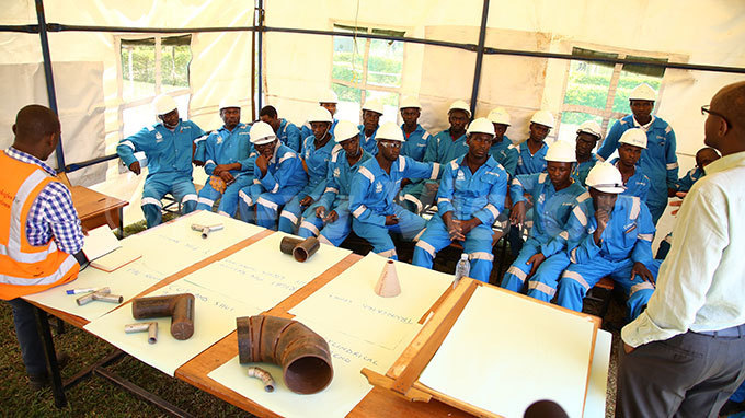 ome of the students that will receive high level skills in welding at the uhimba echnical nstitute in oima