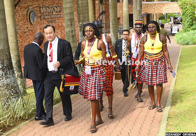 ganda delegation dressed in arimojpong attire