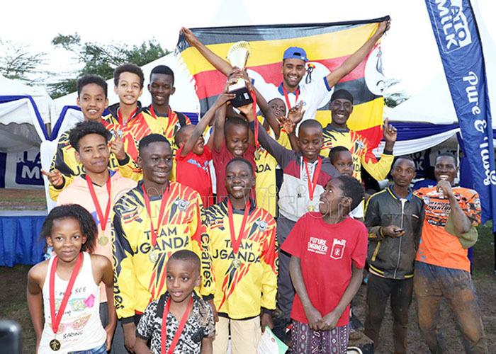 gandas motocross team celebrate winning the  ast frica hampionship in airobi last year