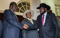 South Sudan's Kiir, Machar in Entebbe for peace talks