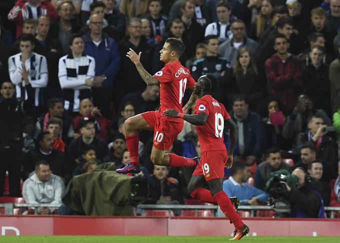 hilippe outinho  celebrates scoring their second goal with adio ane  hoto