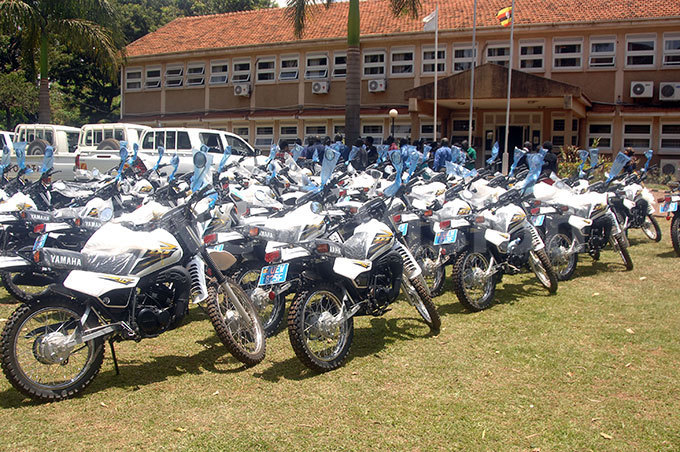 ome of the motorcycles ational orestry uthority staff working at central forest reserves in udongo abira and iramagambo will be using to combat illegal activities in the forests hoto by enis ibele