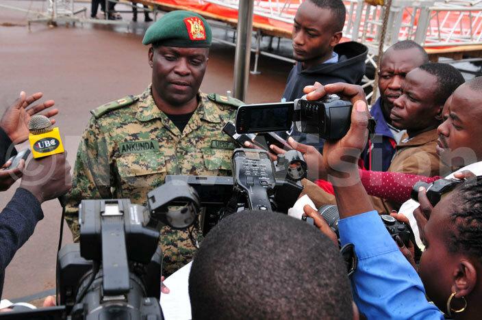 ganda eoples efence orce  addy nkunda addresses journalist at ololo ndependence rounds hotoeter usomoke