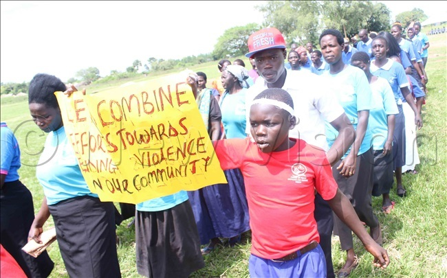 upils of bata rimary chool and the aberamaido district community matching in support of the fight against violence in the community