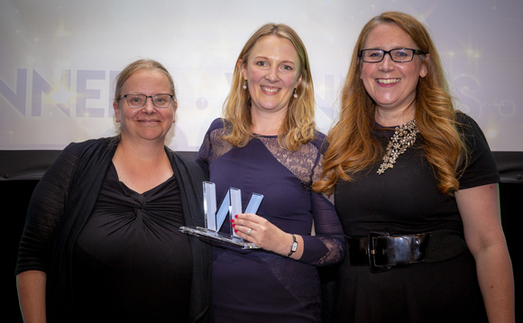 Anna Copestake receives the Lawyer of the Year accolade from event host Viv Groskop (right) and XPS Pensions Group's Jane Beverley (left)