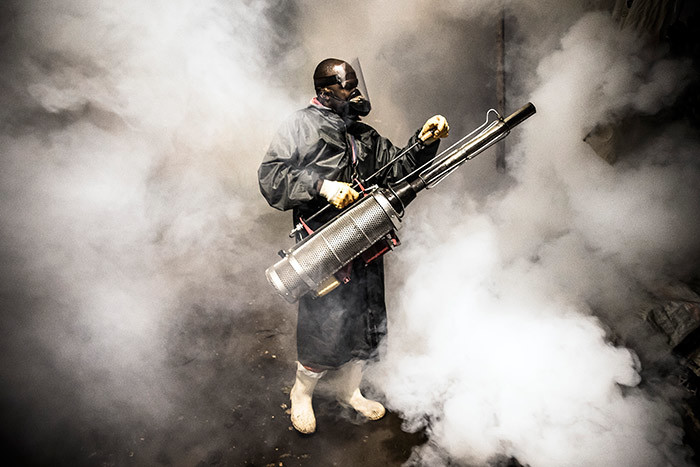 member of a privatelyfunded  working with county officials wearing protective gear fumigates and disinfects on pril 15 2020 during the dusktodawn curfew imposed by the enyan overnment hoto by