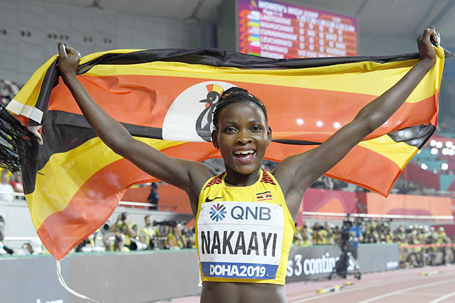gandas alimah akaayi celebrates after winning in the omens 800m final at the 2019  thletics orld hampionships at the halifa nternational tadium in oha on eptember 30 2019 hoto by irill