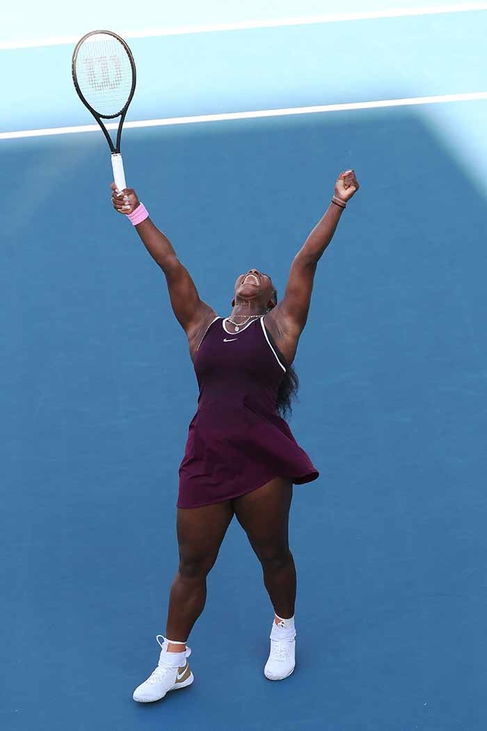 erena illiams of the  reacts after winning against essica egula of the  during their womens singles final match during the uckland lassic tennis tournament in uckland on anuary 12 2020 hoto by