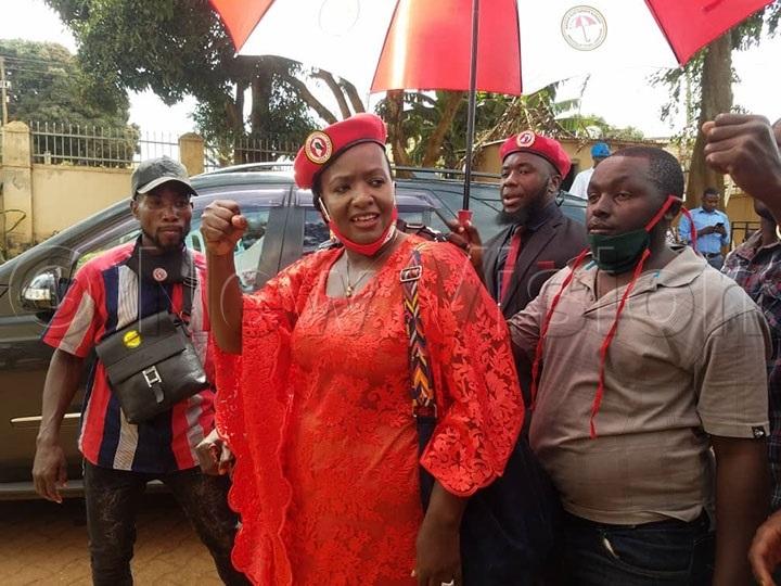 NUP flag bearer for the Kampala Mayoral race Nabillah Sempala arrives for nomination