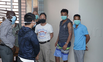 Some of the chinese being examined for corona virus at trupart apartments naguru 2 350x210