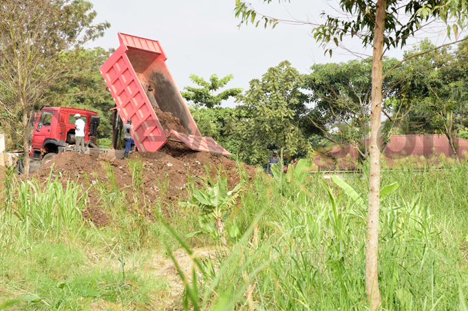 truck dumps soil in the wetland on unday evening hoto by aria amala