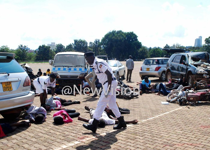 raffic police officer checking on some of the victims during a demonstration of mass causality drill