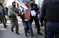 Belarus great-grandmother protest star defies police