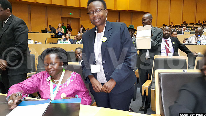 tate minister arah pendi with ane uth cheng shortly after signing the ministerial declaration on immunisation at the conference redit atherine wesigwa izza
