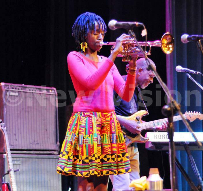 hristine amau plays her oprano saxophone