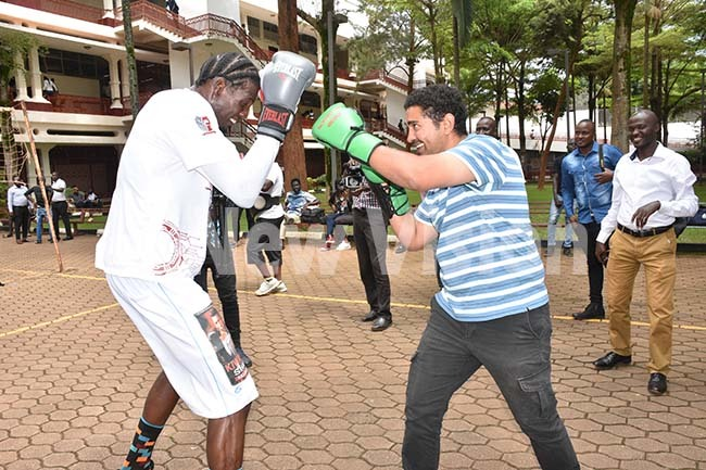 hafick iwanuka training with the  director assan lwi hoto by ohnson ere