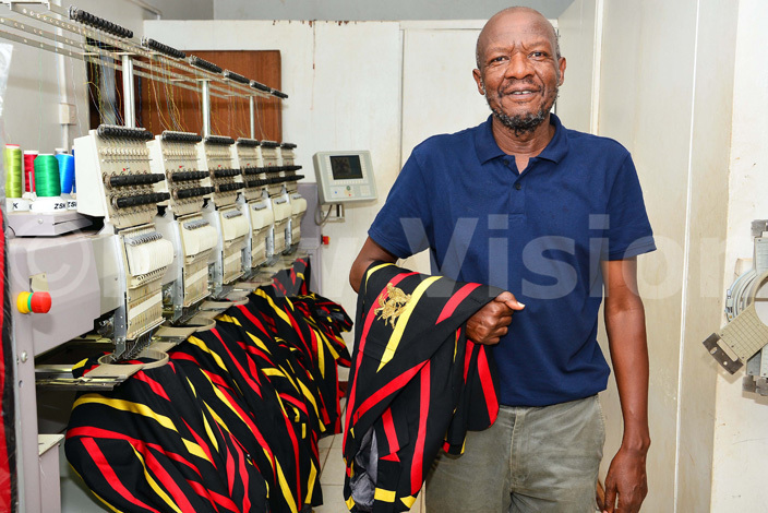 tephen asumba at his embroidery workshop in akerere