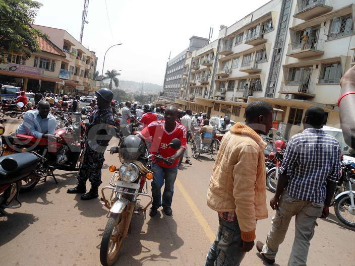 oda boda cylists manouver through the chaos after s operating at andegeya blocked the road hoto by gnes antambi