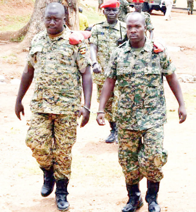 pl eter ushindiki and te obert kurut after appearing before the army court yesterday ourtesy photo