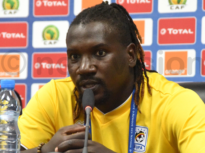 efender assan asswa talks to the media ahead of aturdays crucial encounter against gypt hoto by palanyi sentongo