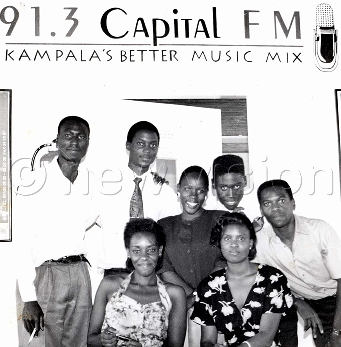 apital adio presenters in 1994 ichard ulondo back left next to him is ndrew wabi extreme right bending is imothy alegyria and sitting left is rene chwo