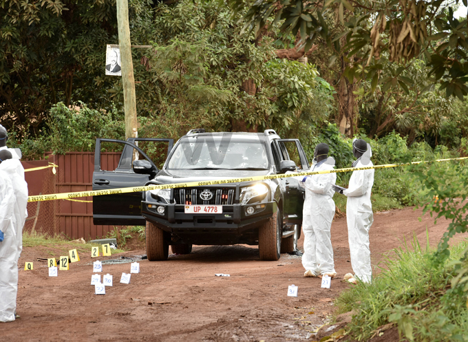 forensic team combs the crime scene where ndrew elix aweesi his bodyguard and driver were gunned downile photo