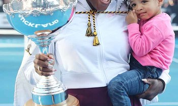 Serena williams of the us with her daughter alexis olympia after her win against jessica pegula of the us 350x210