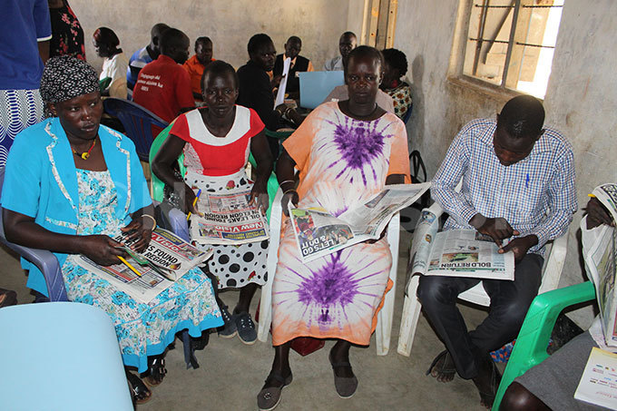eachers and  facilitators from apak during training on how to use newspapers as instructional materials in class hoto by eoffrey utegeki