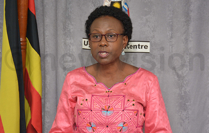 ealth minister ane uth ceng addressing the media ahead of the 2nd ational hysical ctivity ay hoto by imothy urungi