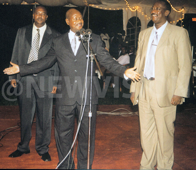 gandas resident oweri useveni c and his brothers alim aleh  and owomugisha zeire aguta at usevenis daughter atiences wedding reception in ampala uly 202002