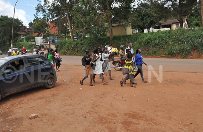 akerere niversity students walking along ir pollo aggwa oad as they return to their hostels from the university