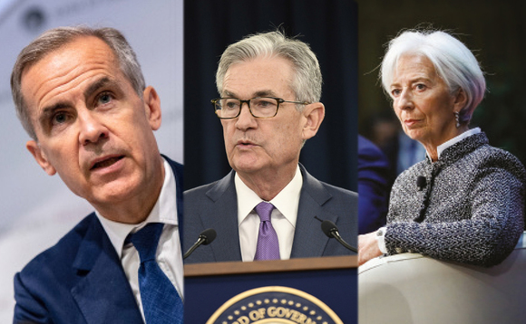 Bank of England's Mark Carney, the Federal Reserve's Jerome Powell and the IMF's Christine Lagarde. Photos: Chris J Ratcliffe/PA Wire/Liu Jie/Xinhua News Agency/Thomas Padilla/Maxppp/PA Images