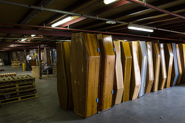 picture taken on pril 8 2020 shows coffins in a storage hall at rances biggest coffinmaker  group in ussey eastern rance amid the spread of the 19 the disease caused by the novel coronavirus hoto by