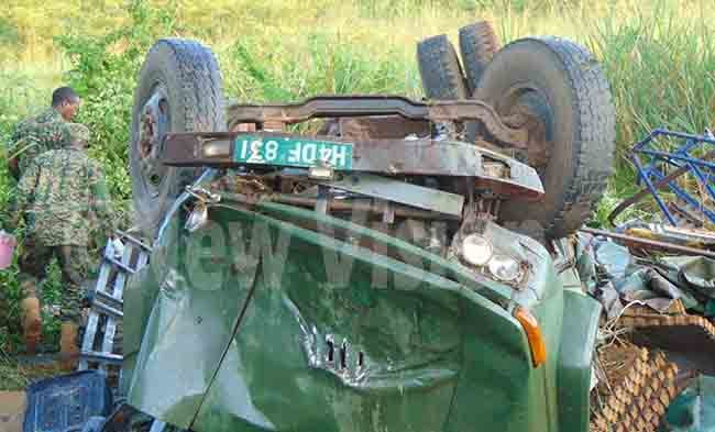 he rmy truck  that was involved in an accident with a  traveler bus on ampala ulu highway in the   unydyek swamp in iima parish utunda sub county iryandongo district hoto by aidi ngola