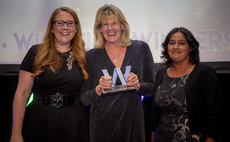 Capital Cranfield's Judith Maguire (centre) collects the Trustee of the Year award from Viv Groskop (left) and Willis Towers Watson's Tina Kripps (right)