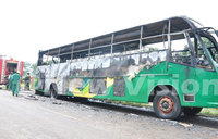 Kasese bus catches fire on highway