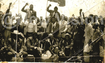 The uganda boxing team the bombers return from the first world amateur boxing championships held in havana cuba in 1974 350x210