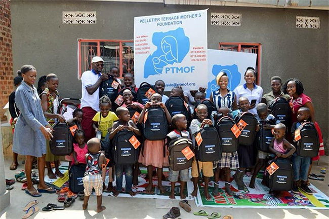 ome of the children of teenage mothers pose for a picture