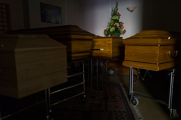 picture taken on pril 5 2020 shows coffins of victims of the 19 into the storage room of the antz funeral company in ulhouse eastern rance during a strict lockdown in rance to stop the spread of 19 novel coronavirus hoto by