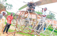 Bushenyi men build helicopter