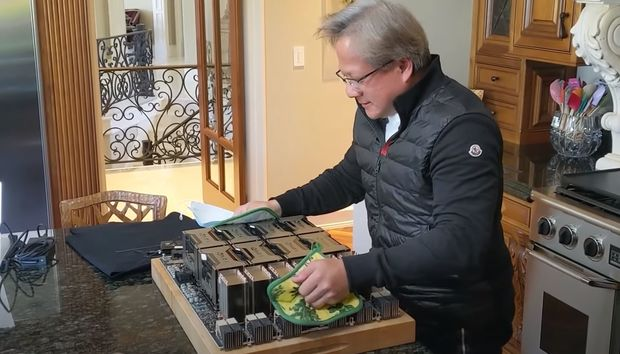 Ampere's coming: Nvidia CEO pulls 'world's largest graphics card' out of an oven before GTC keynote