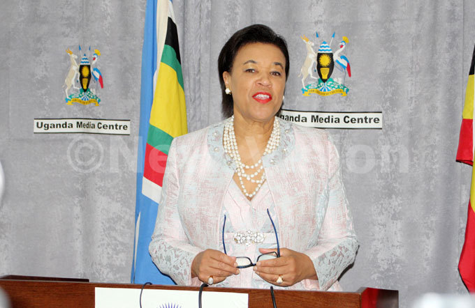 ommonwealth ecretary eneral atricia aroness cotland during the press briefing