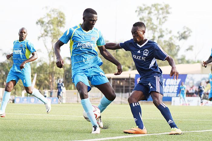 olice  forward yanzi onald takes on mbarara city  efender illary ukundane
