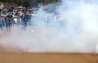 Policeman killed by teargas canister