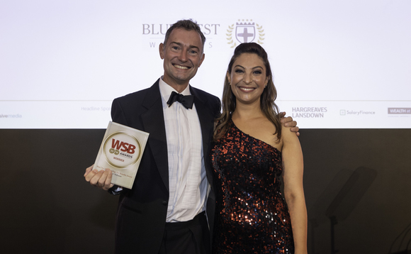 WSB Awards host Jess Robinson presents the accolade to Bluecrest's Peter Blencowe